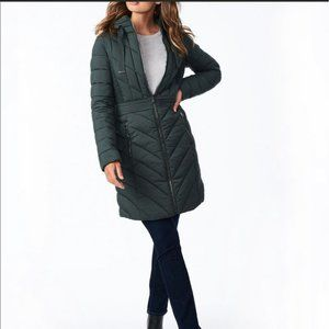 Bernardo EcoPlume Quilted Hooded Long Packable Coat Olive Size Medium NWT